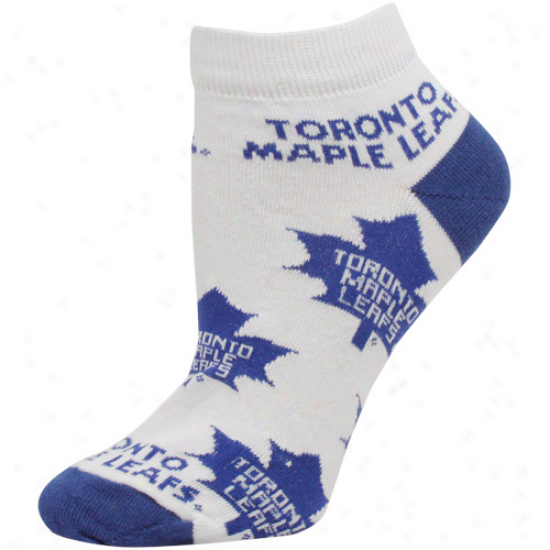 Toronto Maple Leafs Ladies White Allover Logo Ankle Scks