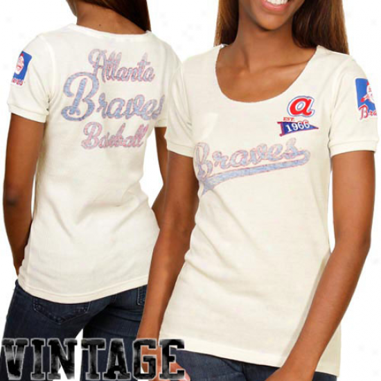 Touch By Alyssa Milano Atlanta Braves Ladies Novelty Patch Warm Premium Tshirt - Natural