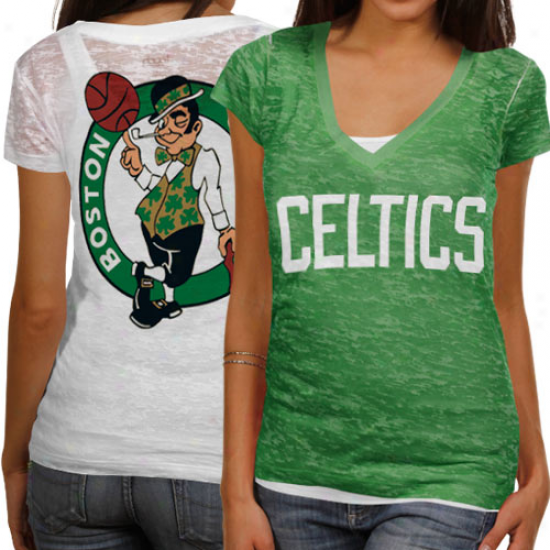 Tojch By Alyssa Milano Boston Celtics Ladies Kellg Greem-ehite Superfan Sublimated Sheer Burnout Premium T-shirt