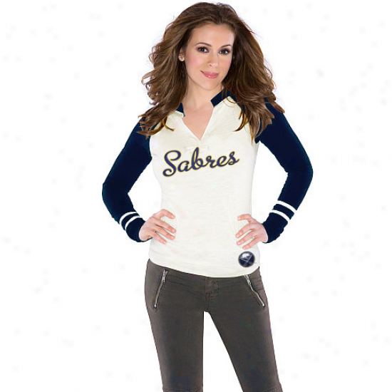 Touch By Alyssa Milano Buffalo Sabres Ladies Sports Envy Protracted Sleeve Slub T-shirt - Cream