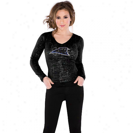 Touch By Alyssa Milano Carolina Panthers Ladies Burnout Warm V-neck Long Sleeve Premium T-shirt - Black