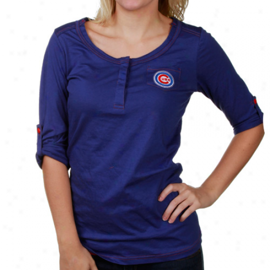 Touch By Alyssa Milano Chicago Cubs Ladies Royal Blue Sideline Henley Convertible Premium Long Sleeve T-shirt