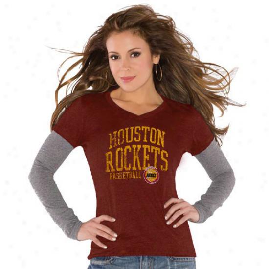 Touch By Alyssa Milano Houston Rockets Ladies Red Double V Tri-blend Premium T-shirt