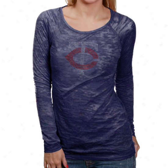 Touch By Alyssa Milano Minnesota Twins Ladies Blue Sheer Crystal Premium Long Sleeve T-shirt