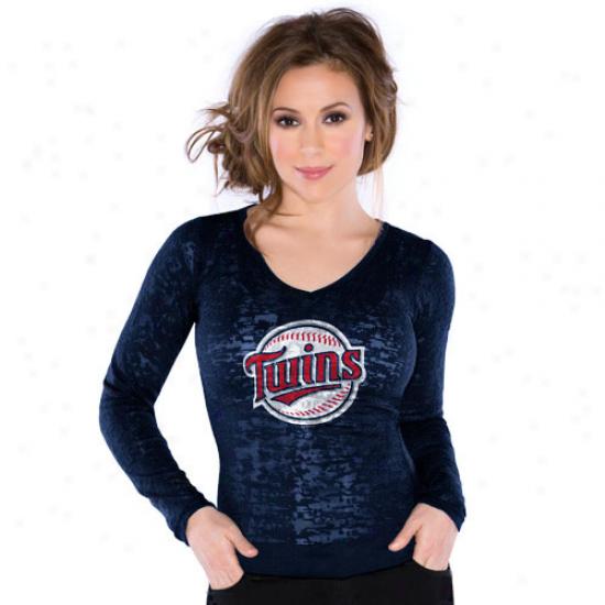 Touch By Alyssa Milano Minnesota Twins Ladies Burnout Thermal V-nexk Long Sleeve Premium T-shirt - Navy Pedantic