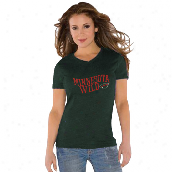 Touch By Alyssa Milano Minnesota Fanciful Ladies Green Tri-blend V-neck T-shirt