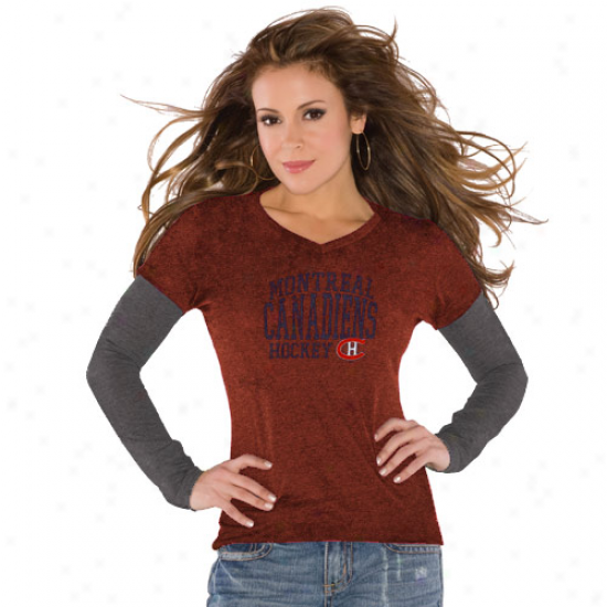 Touch By Alyssa Milano Montreal Canadiens Ladies Red Double Layered Premium Tri-blend V-neck T-shirt