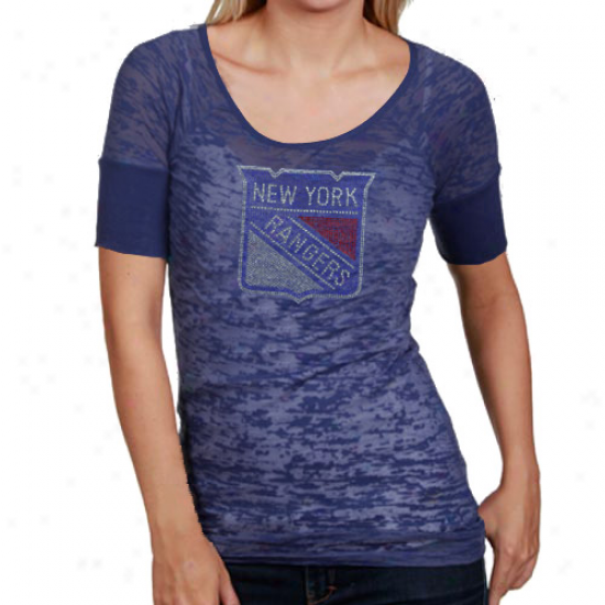 Touch By Alyssa Milano New York Rangers Ladies Blue Crystal Premium T-shirt