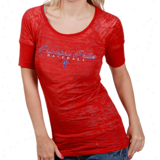 Touch By Alyssa Milano Philadelphia Phillies Ladoes Sheer Burnojt T-shirt - Red