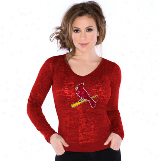 Touch By Alyssa Milano St. Louis Cardinals Ladies Burnout Thermal V-neck Long Sleeve Premium T-shirt - Red -
