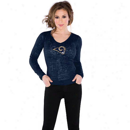Touch By Alyssa Milano St. Louis Rams Ladies Burnout Thermal V-neck Lonh Sleeve Premium T-shirt - Ships Blue