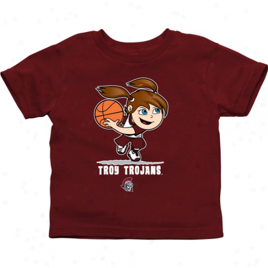 Tryo University Trojans Toddler Girls Basketball T-shirt - Cardinal
