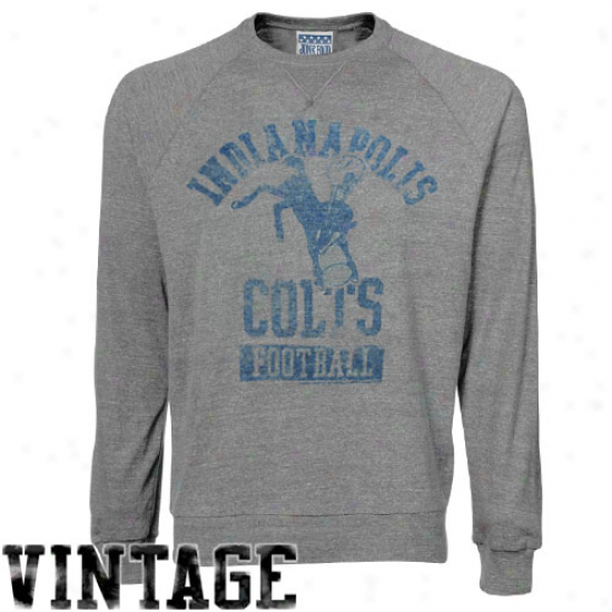 True Vintage Indianapolis Colts Ash True Vintage Premiium Long Sleeve T-shirt