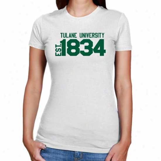 Tulane Green Wave Ladies White Est. Date Slim Fit T-shirt