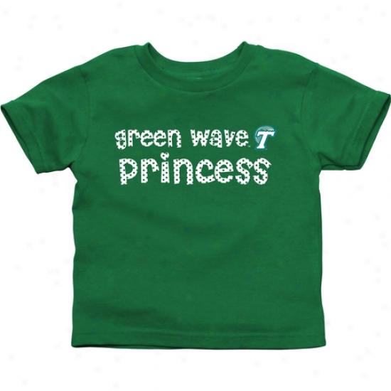 Tulane New Wave Toddler Princess T-shirt - Green