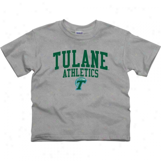 Tulane Green Wave Youth Athletics T-shirt - Ash