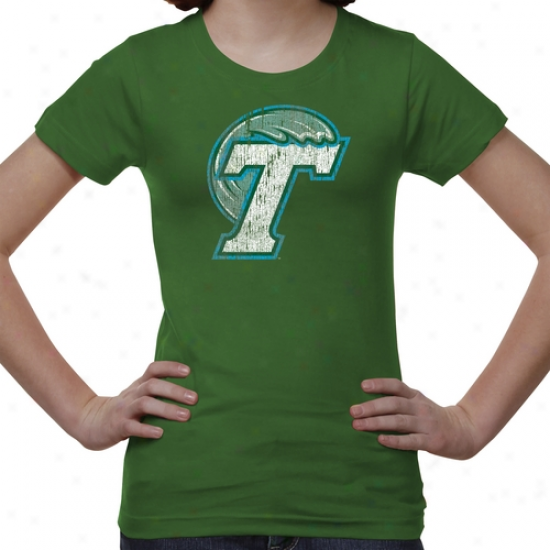 Tulane Green Wave Youth Distressed Primary T-shirt - Green -