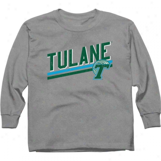 Tulane Green Wave Youth Insurrection Bar Long Sleeve T-shirt - Ash