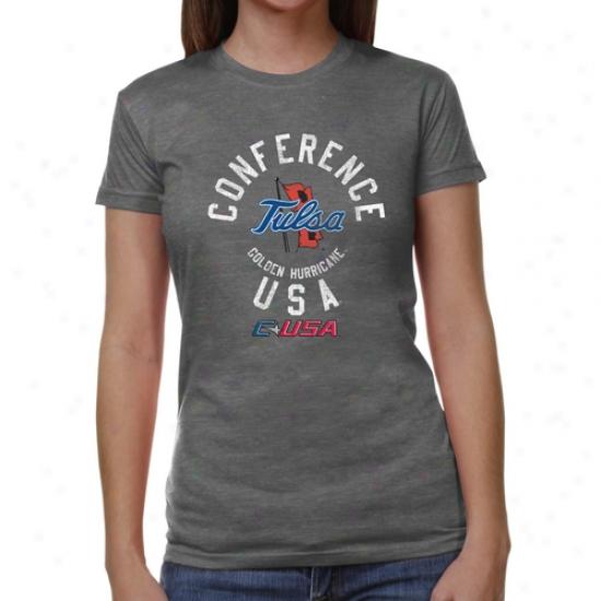 Tulsa Golden Hurricane Ladies Conference Stamp Tri-blend T-shirt - Ash