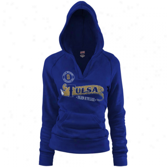Tulsa Golden Hurricane Ladiss Royal Blue Rugby Distressed Deep V-neck Pullover Hoodie Sweatshurt