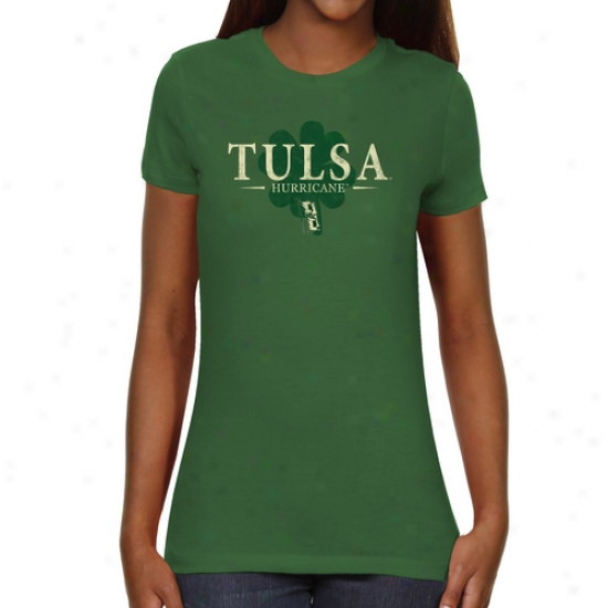 Tulsa Golden Hurricane Ladies St. Paddy's Slim Fit T-shirt - Green