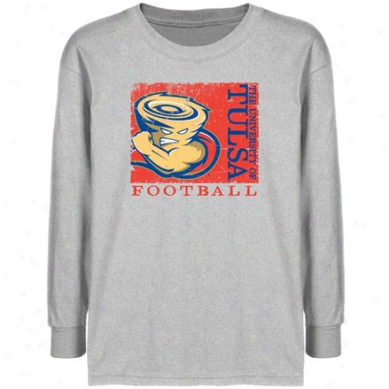 Tulsa Golden Hurricane Youth Ash Sport Stamp T-shirt