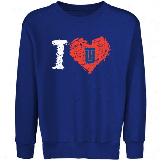 Tulsa Golden Hurricane Yoyth Iheart Crew Neck Fleece Sweatshirt - R0yal Blue