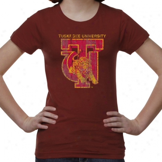 Tuskeg3e Golden Tigers Youth Distressed Primary T-shirt - Crimson -