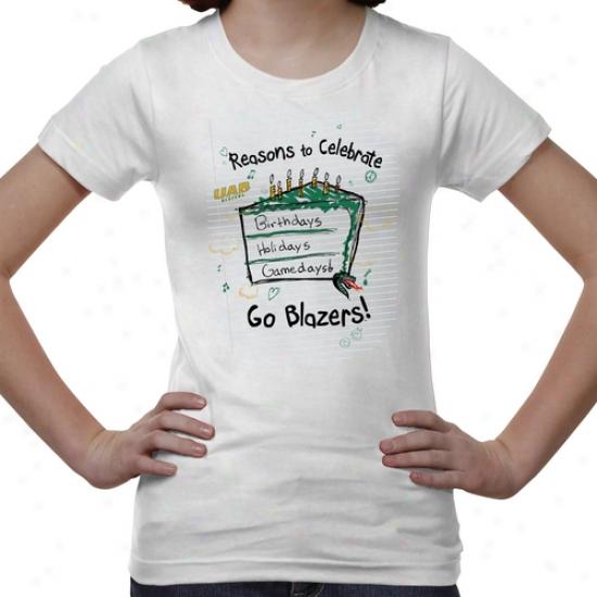 Uab Blazers Youth Celebrate T-shirt - White