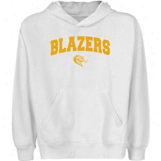 Uab Blazers Youth Wjite Logo Arch Pullover Hoody
