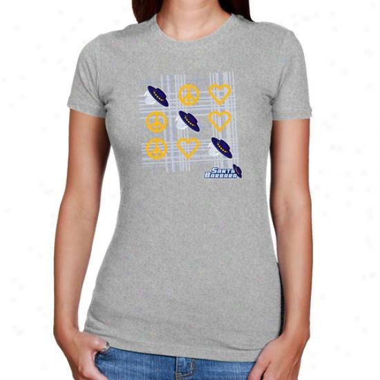 Uc Santa Barbara Gauchos Ladies Ash Tic-tac-toe Slim Fit T-shirt