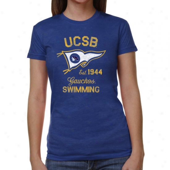 Uc Santa Barbara Gauchos Ladies Pennnat Sport Junior's Tri-blend T-shirt - Royal Blue