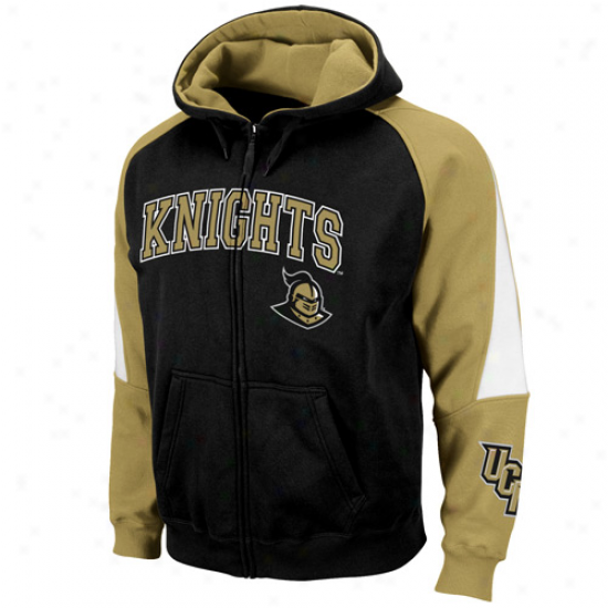 Ucf Knights Black-gold Playmajer Full Zip Hoodie Sweatshirt