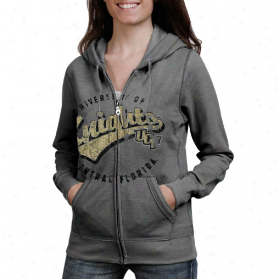 Ucf Knights Ladies Ash Swept Full Zip Hoodie Sweatshirt