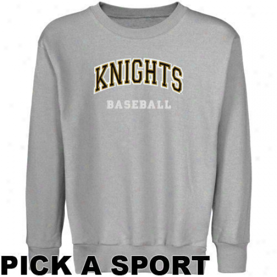 Ucf Knights Youth Ash Custom Sport Arch Applique Crew Neck Fleece Sweatshirt -