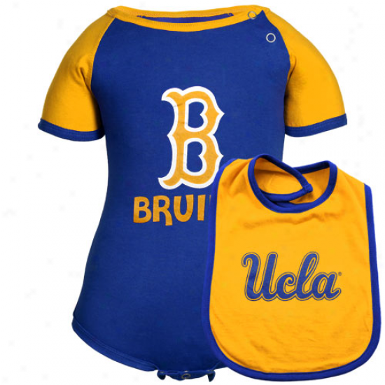 Ucla Bruins Babe First Down Creeoer & Bib Set - Royal Blue-gold