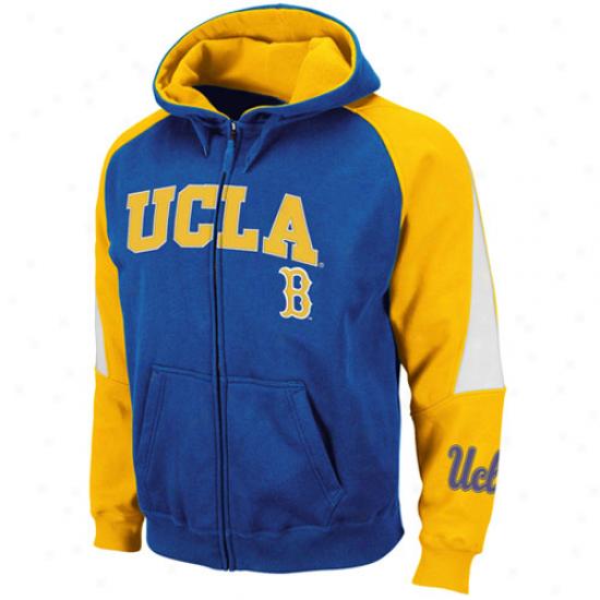 Ucla Bruins True Blue-gold Playmaker Full Zip Hoodie Sweatshirt