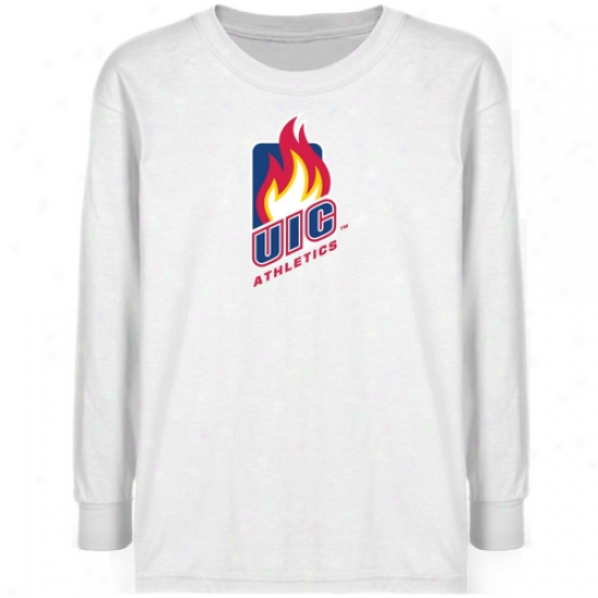 Uic Flames Youth White Athletics Team Logo Long Sleeve T-shirt