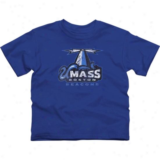 Umass Boston Beacons Youth Distressed Primary T-shirt - Royal Blue