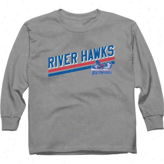 Umass Lowell Rivrr Hawks Youth Rising Ba5 Long Sleeve T-shirt - Ash