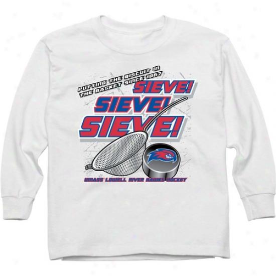 Umass Lowell River Hawks Youth Sieve Long Sleeve T-shirt - White