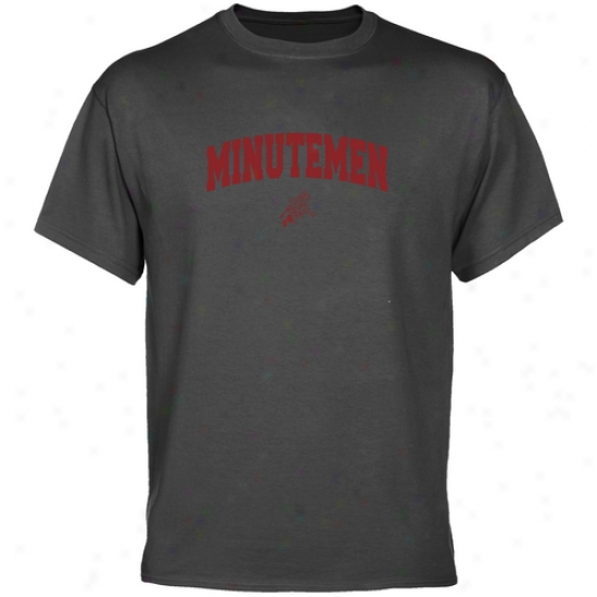 Umass Minutemen Charcoal Logo Bend  T-shirt