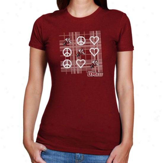 Umasss Minutemen Ladies Scarlet Tic-tac-toe T-shirt
