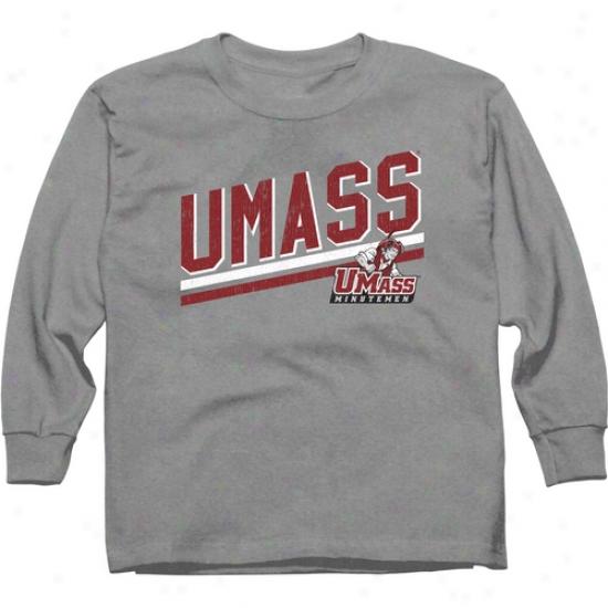 Umass Minutemen Youth Rising Bar Long Sleeve T-shirt - Ash