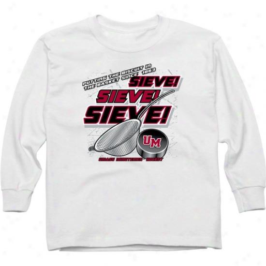 Umass Minutemen Youth Sieve Long Sleeve T-shirt - White