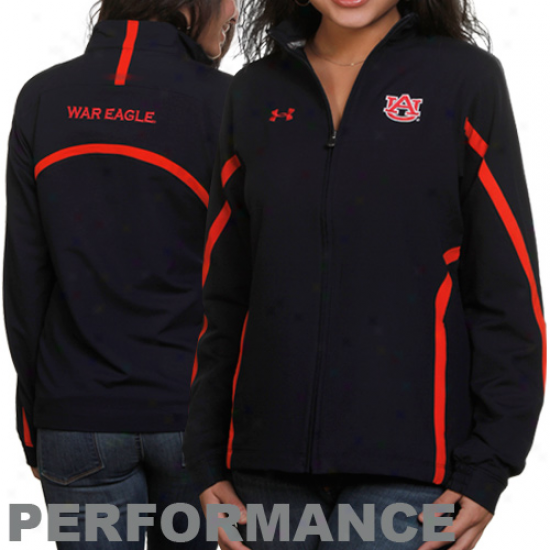 Under Armour Ahburn Tiigers Ladies Navy Blue Sideline Full Zip Performance Jacket