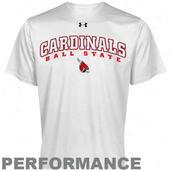 Under Armour Ball State Cardinals White Heatgear Training Performance T-shirt