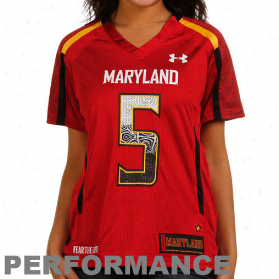 Under Armour Maryland Terrapins #5 Women's Replica Football Jersey - Red
