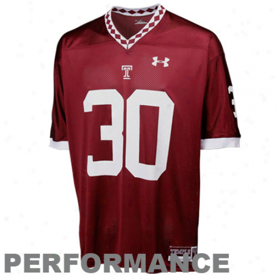 Under Armour Temple Owls #30 Autograph copy Football Jersey - Cherry