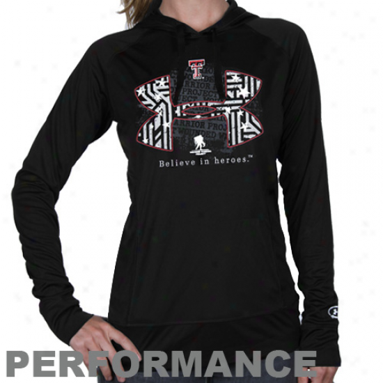 Under Armour Texas Tech Red Raiders Ladies Wounded Warrior Project Performance Long Sleeve Hoodie T-shirt - Black